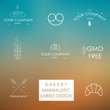Minimalistic styled bakery icons and labels. Royalty Free Stock Image