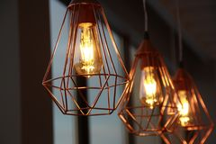 Minimalistic stylish lamps decorated in a modern style royalty free stock images
