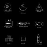 Minimalistic sushi bar menu icons and sushi bar Royalty Free Stock Image