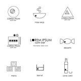 Minimalistic sushi bar menu icons and sushi bar Stock Photography