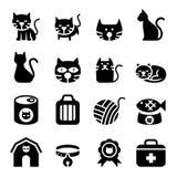 minimalistic symbol för tecknad filmkattdesign vektor illustrationer