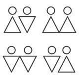 Minimalistic symboler av förälskelsepar Vektor på vit bakgrund stock illustrationer