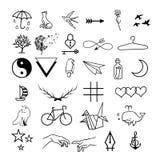 Minimalistic tatuerar vektoruppsättningen royaltyfri illustrationer