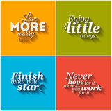 Minimalistic typographic motivational quotes Stock Images