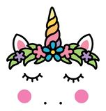 Minimalistic unicorn face with floral wreath. Vector Royalty Free Stock Photo