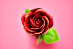 Minimalistic van kunstmatige die rood nam beeld in studio wordt gefotografeerd op roze wordt geïsoleerd toe Royalty-vrije Stock Foto's