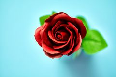 Minimalistic van kunstmatige die rood nam beeld in studio wordt gefotografeerd toe Stock Fotografie