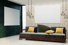 Minimalistic vardagsrum med den tomma affischen royaltyfri illustrationer