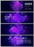The minimalistic vector illustration of the editable layout of headers, banner design templates. Black background with. Fluid gradient, liquid blue colored stock illustration