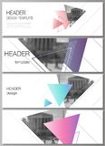 The minimalistic vector illustration of the editable layout of headers, banner design templates. Colorful polygonal. Background with triangles with modern royalty free illustration