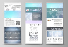 The minimalistic vector illustration of editable layout of roll up banner stands, vertical flyers, flags design business Stock Photos