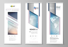 The minimalistic vector illustration of editable layout of roll up banner stands, vertical flyers, flags design business Stock Images