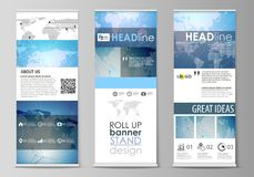 The minimalistic vector illustration of editable layout of roll up banner stands, vertical flyers, flags design business. The minimalistic vector illustration of royalty free illustration