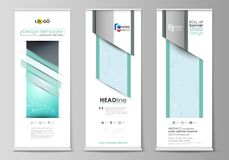 The minimalistic vector illustration of the editable layout of roll up banner stands, vertical flyers, flags design vector illustration