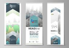 The minimalistic vector illustration of the editable layout of roll up banner stands, vertical flyers, flags design Royalty Free Stock Images