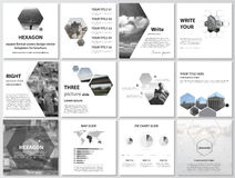 The minimalistic vector illustration of the editable layout of square format covers design templates for brochure, flyer Stock Photos