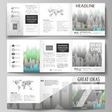 The minimalistic vector illustration of the editable layout. Three creative covers design templates for square brochure. Or flyer. Rows of colored diagram with Royalty Free Stock Photo