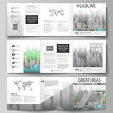 The minimalistic vector illustration of the editable layout. Three creative covers design templates for square brochure. Or flyer. Rows of colored diagram with Stock Image