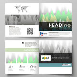 The minimalistic vector illustration of the editable layout of two covers templates for square design brochure, flyer. Booklet. Rows of colored diagram with Royalty Free Stock Images