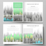The minimalistic vector illustration of the editable layout of two covers templates for square design brochure, flyer. Booklet. Rows of colored diagram with Stock Image