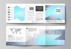The minimalistic vector illustration of editable layout. Two modern creative covers design templates for square brochure Royalty Free Stock Photography