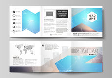 The minimalistic vector illustration of the editable layout. Two modern creative covers design templates for square Stock Photo