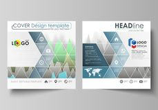 The minimalistic vector illustration of the editable layout of two square format covers design templates for brochure. Flyer, booklet. Rows of colored diagram Stock Photos