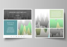 The minimalistic vector illustration of the editable layout of two square format covers design templates for brochure. Flyer, magazine. Rows of colored diagram Stock Images