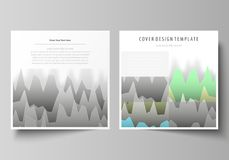 The minimalistic vector illustration of the editable layout of two square format covers design templates for brochure. Flyer, magazine. Rows of colored diagram Royalty Free Stock Photos