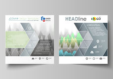 The minimalistic vector illustration of the editable layout of two square format covers design templates for brochure. Flyer, booklet. Rows of colored diagram Stock Images