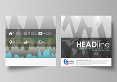 The minimalistic vector illustration of the editable layout of two square format covers design templates for brochure. Flyer, booklet. Rows of colored diagram Stock Photography