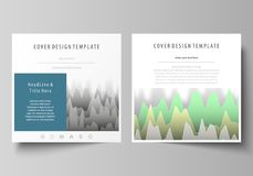 The minimalistic vector illustration of the editable layout of two square format covers design templates for brochure. Flyer, magazine. Rows of colored diagram Royalty Free Stock Images