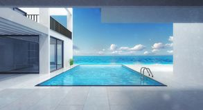 Minimalistic villa residence with swimming pool stock illustration