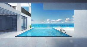 Minimalistic villauppehåll med simbassängen stock illustrationer