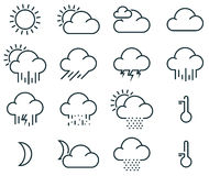 Minimalistic weather icons Royalty Free Stock Photo