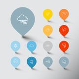 Minimalistic weather thin line pointer icon set Royalty Free Stock Photos