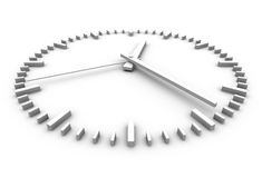 White clock. Minimalistic white clock perspective view Stock Photos