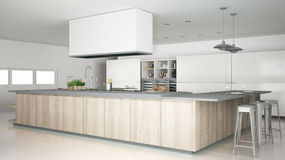 Minimalistic white kitchen with wooden and gray details, minimal Royalty Free Stock Images