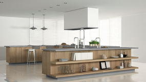 Minimalistic white kitchen with wooden and gray details, minimal. Interior design Royalty Free Stock Image
