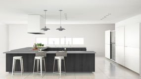 Minimalistic white kitchen with wooden and gray details, minimal. Interior design Stock Images