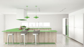 Minimalistic white kitchen with wooden and green details, minima Stock Photo