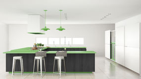 Minimalistic white kitchen with wooden and green details, minima Royalty Free Stock Photography
