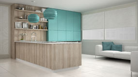 Minimalistic white kitchen with wooden and turquoise details, mi Stock Photo