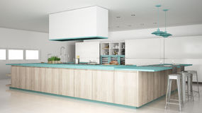 Minimalistic white kitchen with wooden and turquoise details, mi. Nimal interior design Royalty Free Stock Image