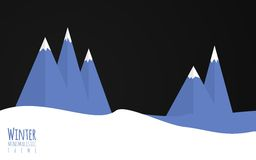 Minimalistic winter themer. A flat minimalistic vector illiustration of winter enviroment, mountains, snow Royalty Free Stock Photography