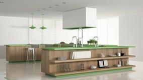 Minimalistic witte keuken met houten en groene details, minima Royalty-vrije Stock Foto