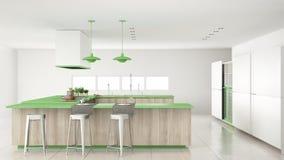 Minimalistic witte keuken met houten en groene details, minima Stock Foto