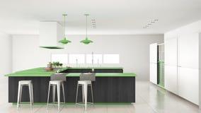 Minimalistic witte keuken met houten en groene details, minima Royalty-vrije Stock Fotografie