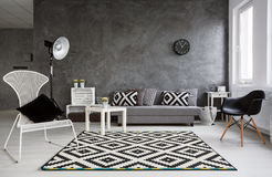 Minimalistic Wohnzimmer Im Grau Lizenzfreies Stockfoto
