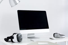 Minimalistic working area in white Royalty Free Stock Images